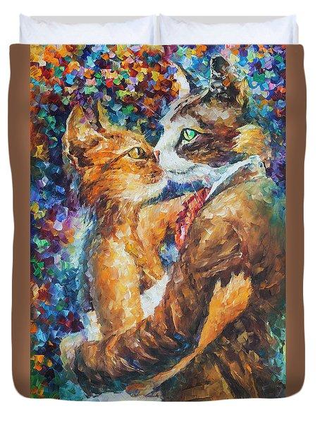 Goodbye My Miau  Duvet Cover by Leonid Afremov