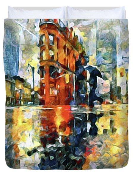 Gooderham Flatiron Building In The Rain Duvet Cover