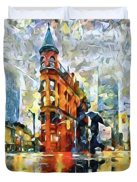 Gooderham Flatiron Building In The Rain Duvet Cover