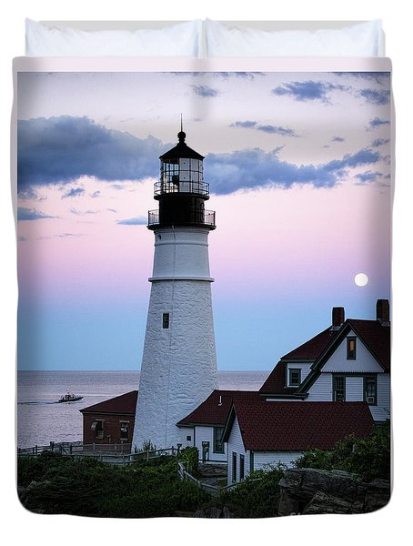 Duvet Cover featuring the photograph Goodnight Moon, Goodnight Lighthouse  -98588 by John Bald