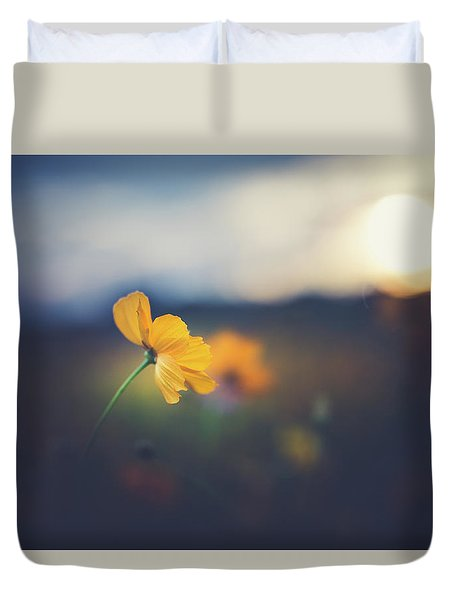 Duvet Cover featuring the photograph Goodnight Sun by Shane Holsclaw