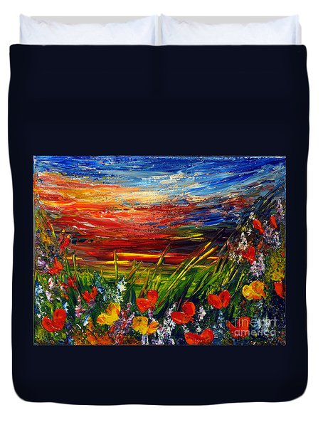 Duvet Cover featuring the painting Goodnight... by Teresa Wegrzyn