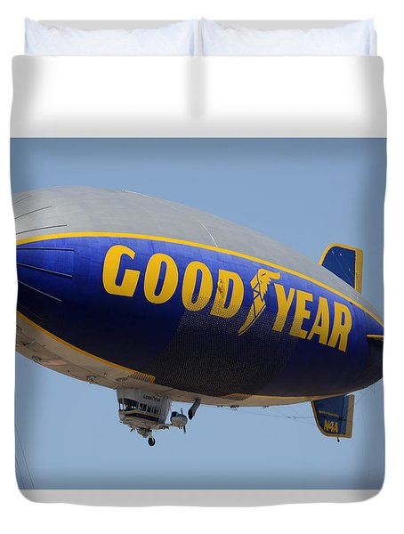 Goodyear Blimp Spirit Of Innovation Goodyear Arizona September 13 2015 Duvet Cover by Brian Lockett