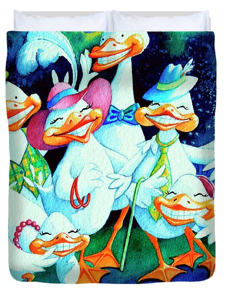 Goofy Gaggle Of Grinning Geese Duvet Cover by Hanne Lore Koehler