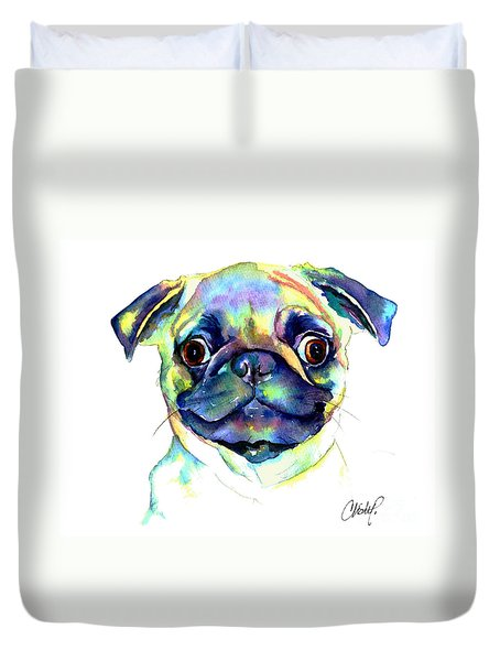 Google Eyed Pug Duvet Cover
