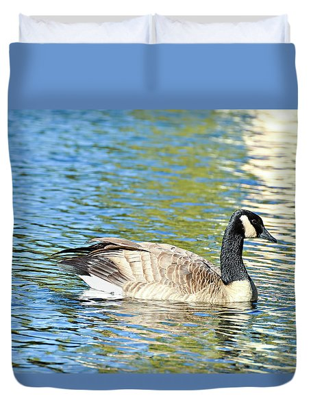 Duvet Cover featuring the photograph Goose And Sun Reflections by David Lawson