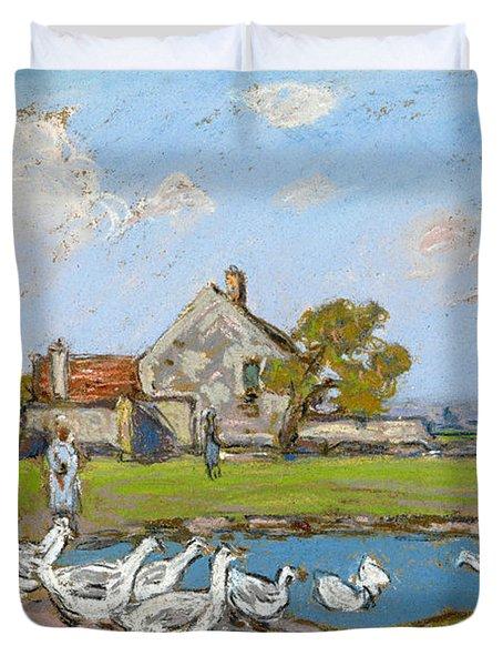 Goose Girl At Sablons Duvet Cover
