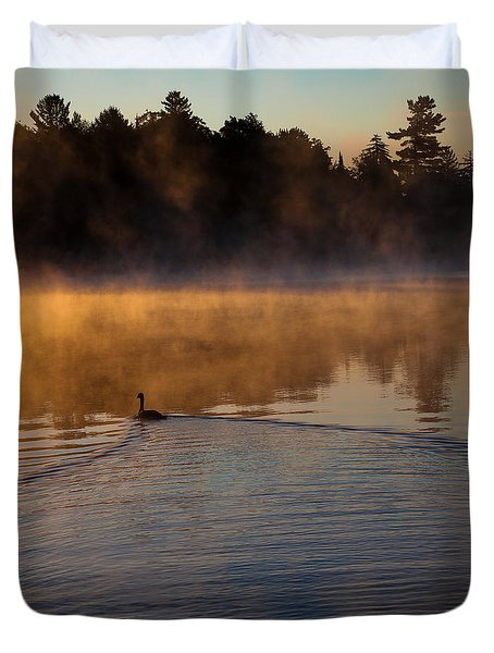 Goose In The Mist On Old Forge Pond Duvet Cover