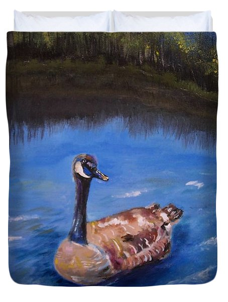 Duvet Cover featuring the painting Goose by Leslie Allen