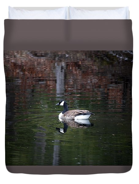 Goose On A Pond Duvet Cover by Jeff Severson