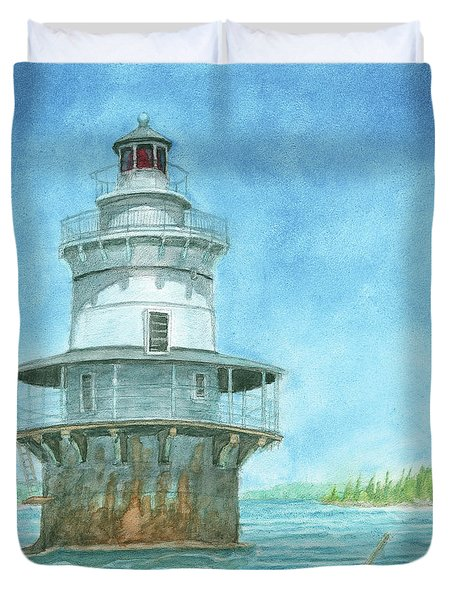 Duvet Cover featuring the painting Goose Rocks Light At High Tide by Dominic White