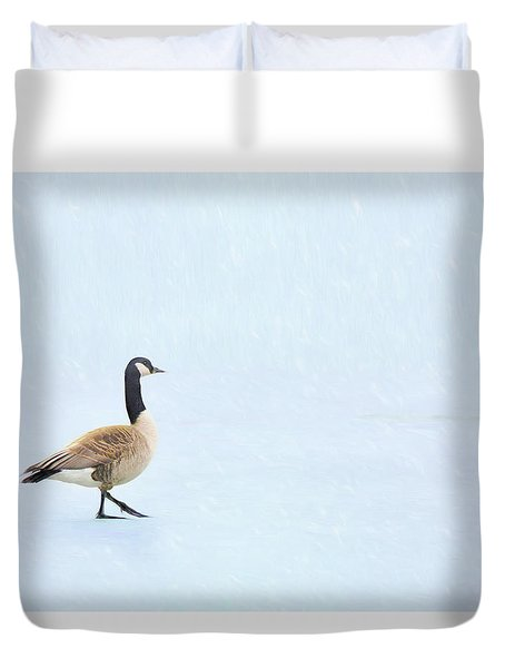 Duvet Cover featuring the photograph Goose Step by Nikolyn McDonald