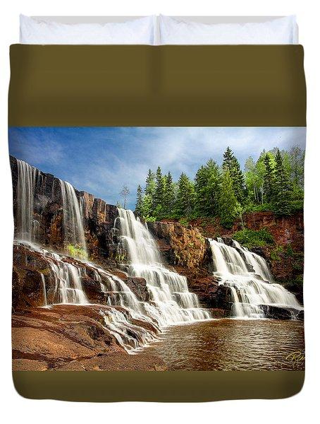 Duvet Cover featuring the photograph Gooseberry Falls by Rikk Flohr