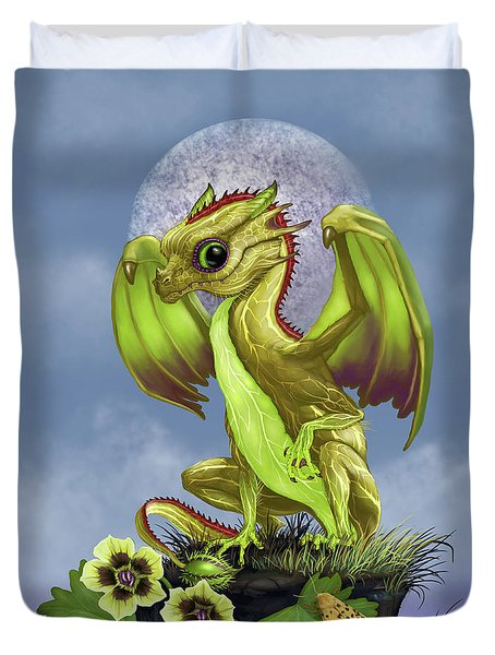 Duvet Cover featuring the digital art Gooseberry Dragon by Stanley Morrison