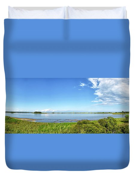 Duvet Cover featuring the photograph Gordons Pond Panorama - Cape Henlopen State Park - Delaware by Brendan Reals