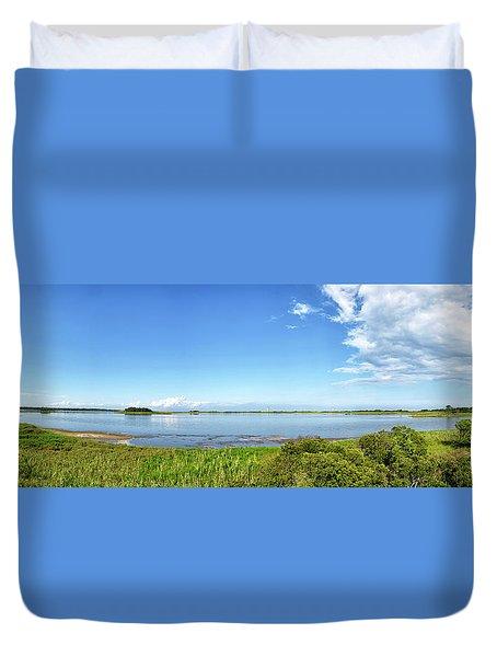Gordons Pond Panorama - Cape Henlopen State Park - Delaware Duvet Cover by Brendan Reals