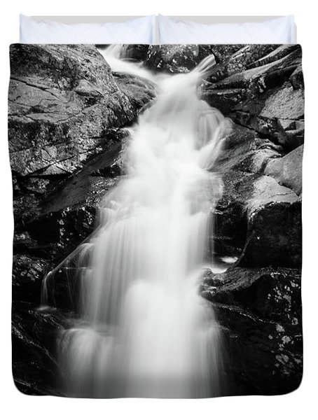 Gorge Waterfall In Black And White Duvet Cover