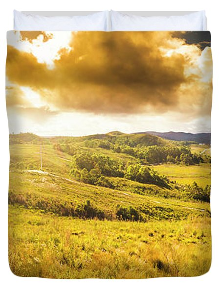 Gorgeous Golden Sunset Field  Duvet Cover