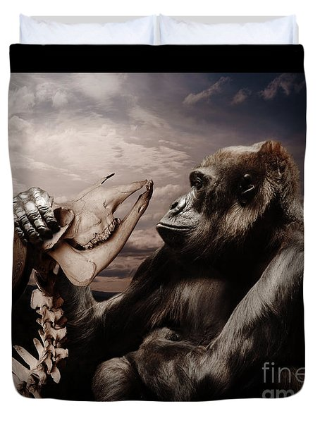 Duvet Cover featuring the photograph Gorilla And Bones by Christine Sponchia