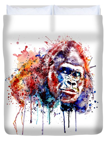 Duvet Cover featuring the mixed media Gorilla by Marian Voicu