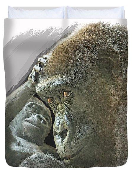 Gorilla Mother Duvet Cover