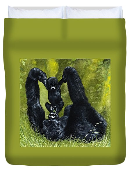 Gorilla Playing With Baby Duvet Cover