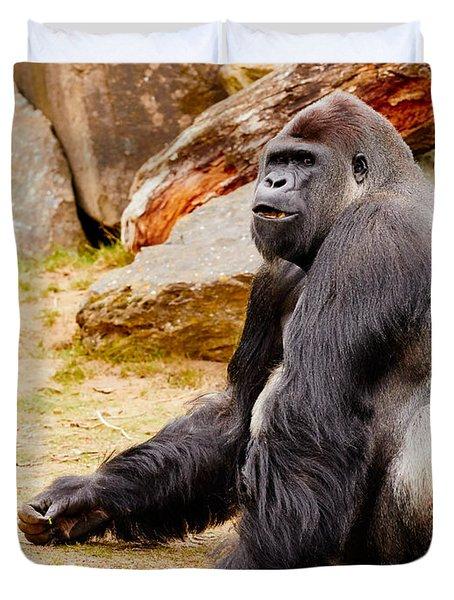 Gorilla Sitting Upright Duvet Cover