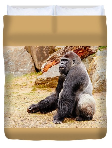 Gorilla Sitting Upright Duvet Cover