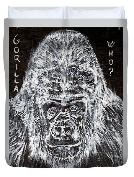 Duvet Cover featuring the painting Gorilla Who? by Fabrizio Cassetta