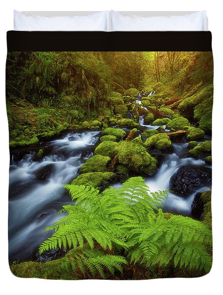 Duvet Cover featuring the photograph Gorton Creek Fern by Darren White
