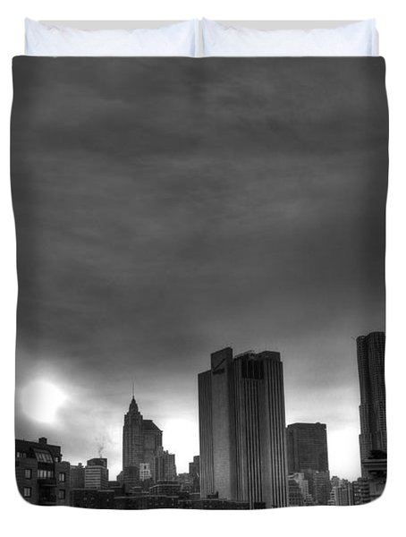 Gotham Black And White Duvet Cover by Randy Aveille