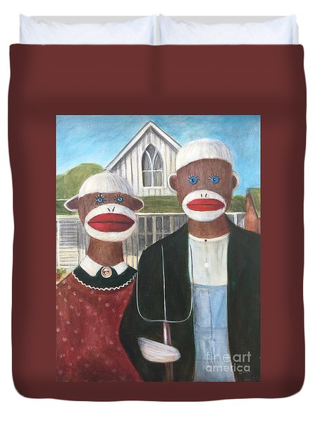 Duvet Cover featuring the painting Gothic American Sock Monkeys by Randol Burns