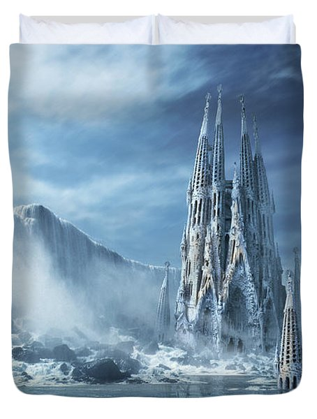 Gothic Fantasy Or Expiatory Temple Duvet Cover