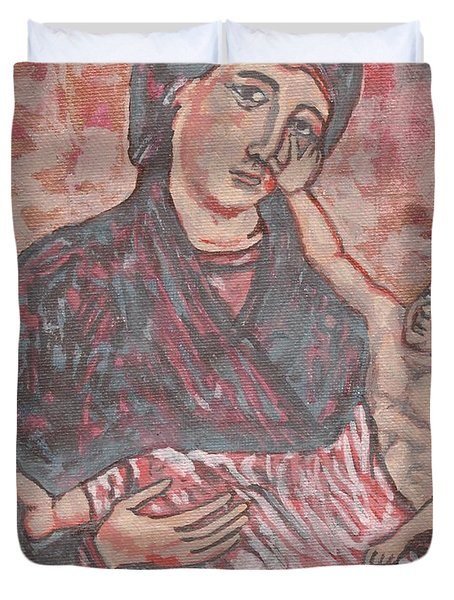 Duvet Cover featuring the painting Gothic I by Janelle Dey