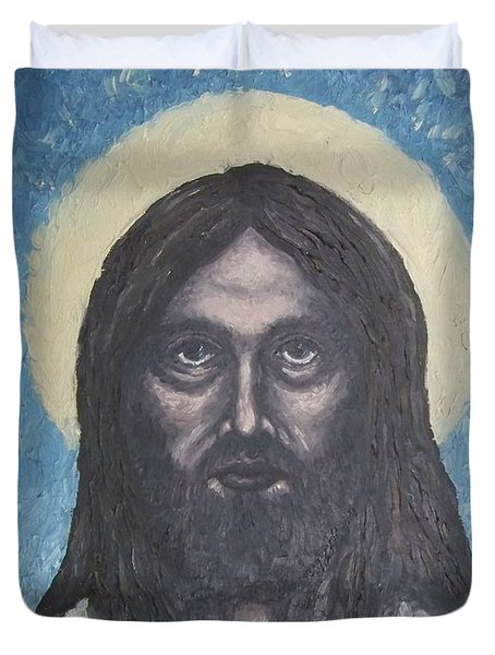 Duvet Cover featuring the painting Gothic Jesus by Michael  TMAD Finney