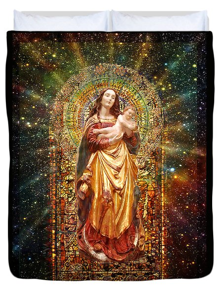 Gothic Madonna And The Child Duvet Cover by Ananda Vdovic
