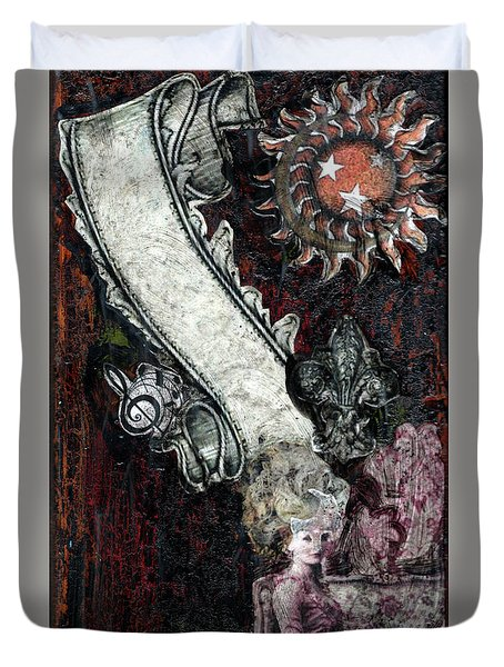 Duvet Cover featuring the mixed media Gothic Punk Goddess by Genevieve Esson