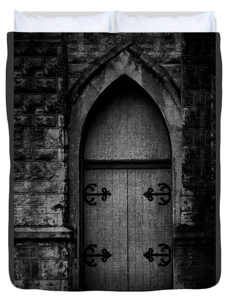 Gothic Door Memphis Church Bw Duvet Cover