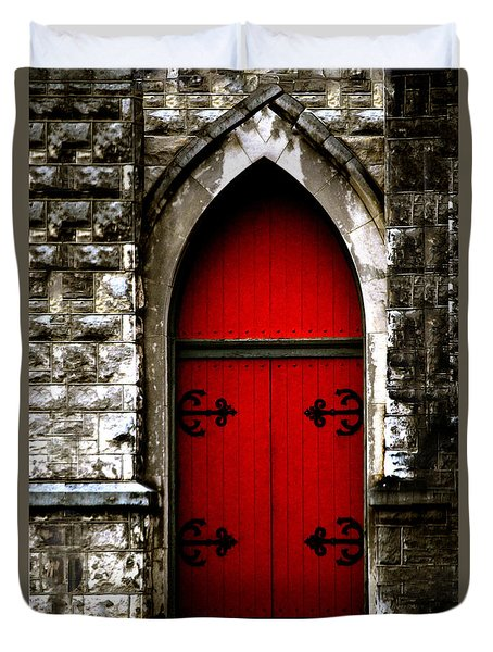 Gothic Red Door Memphis Church Duvet Cover