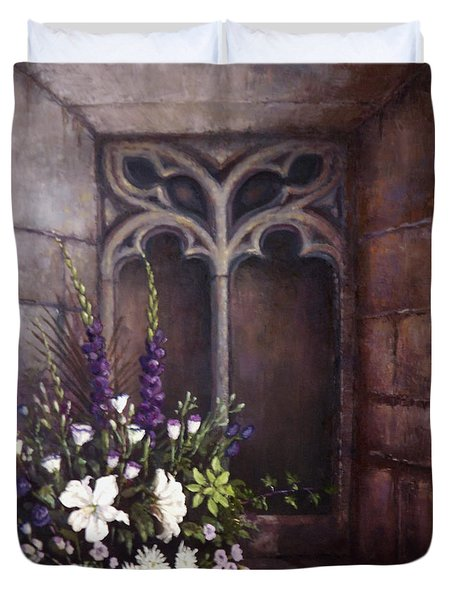 Gothic Wedding Bouquet Duvet Cover by Sean Conlon