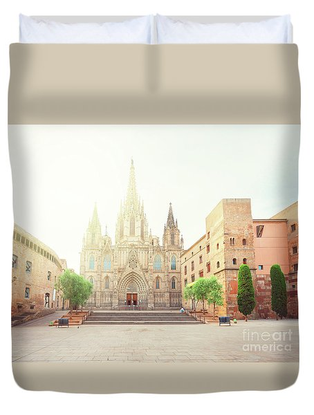 Gotic Cathedral  Of Barcelona Duvet Cover