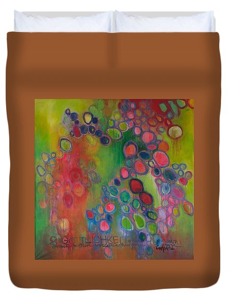 Duvet Cover featuring the painting Gottlichkeit by Laurie Maves ART