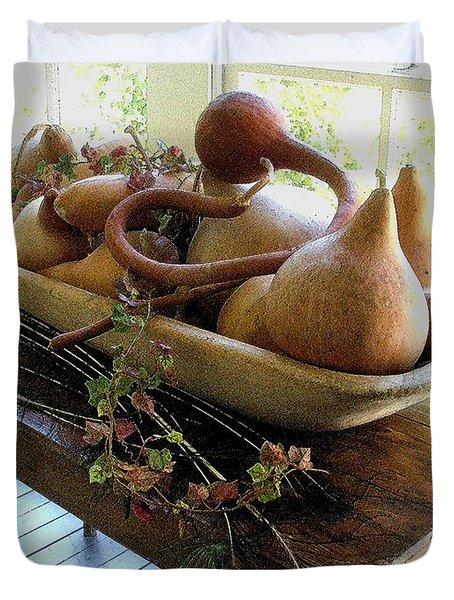 Gourds In Bowl Duvet Cover