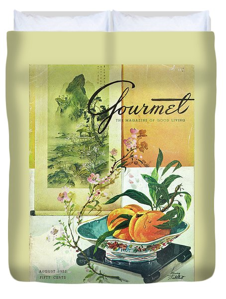 Gourmet Cover Featuring A Bowl Of Peaches Duvet Cover by Henry Stahlhut