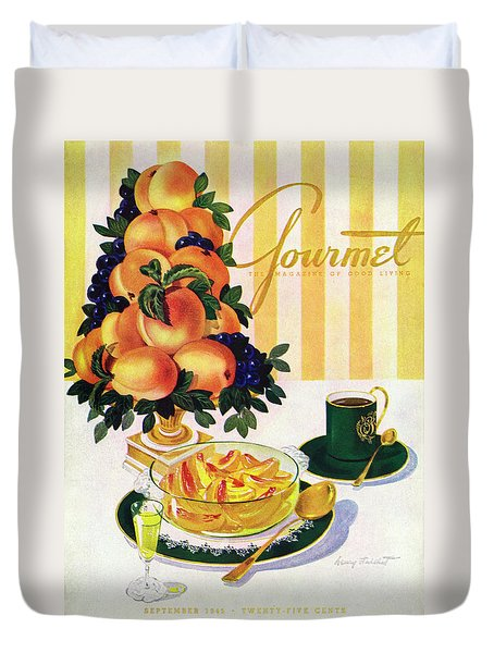 Gourmet Cover Featuring A Centerpiece Of Peaches Duvet Cover