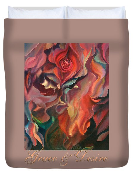 Grace And Desire - Floral Abstract With Border And Title Duvet Cover by Brooks Garten Hauschild
