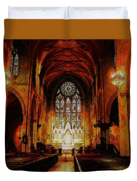 Duvet Cover featuring the painting Grace Church by Kai Saarto