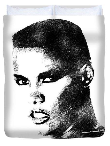 Grace Jones Bw Portrait Duvet Cover by Mihaela Pater