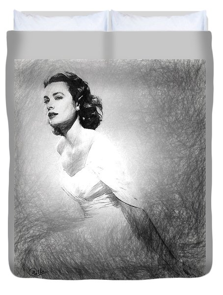 Grace Kelly Sketch Duvet Cover by Quim Abella