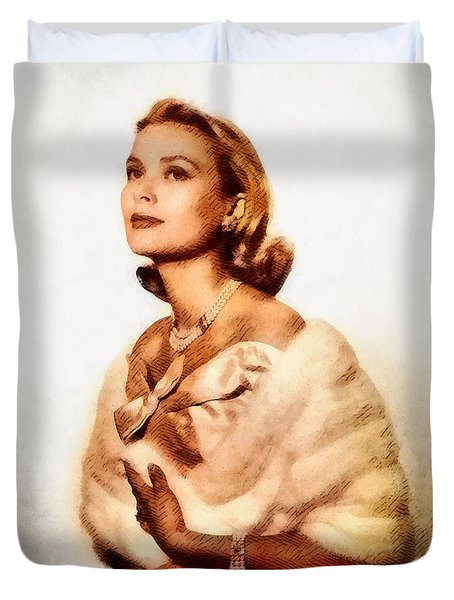 Grace Kelly, Vintage Actress By John Springfield Duvet Cover by John Springfield